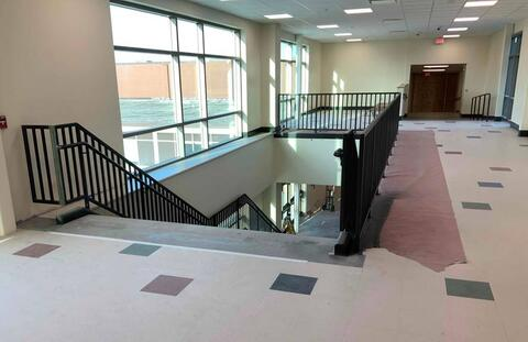 A look at the collaboration area on second floor of the classroom addition. Flooring for the grand staircase will be installed in the next few weeks.