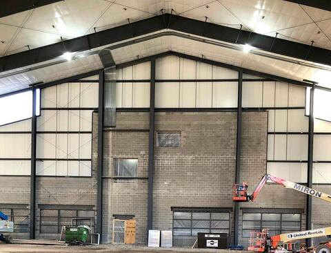 Here is a look at the south wall inside the athletic facility addition. The opposite side of the wall provides access to the main entrance of the facility, locker rooms, and multi-purpose room. Stay tuned for upcoming pictures of this area!