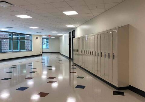 Lockers have been installed on the first and second floors of the classroom addition. Final cleaning is ongoing, which is one of the last items to finish before turning over the space for use!