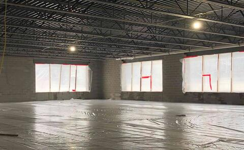 The concrete slab in the new weight room was poured this week. Painting of the ceiling and structure is starting soon, along with window install and MEP installation (of ductwork, lights, etc.).