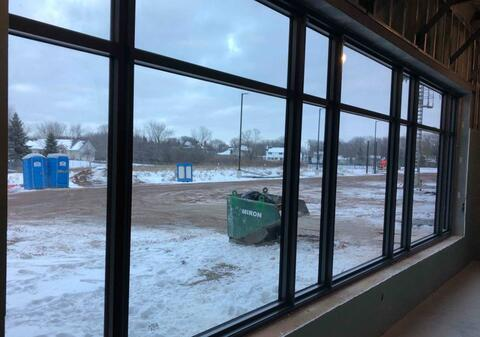 The large window in the first floor teachers lounge has been installed.