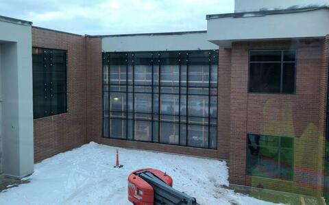 Curtainwall frames have been installed in the courtyard with the glass soon to follow.