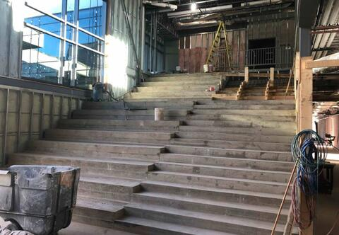 The walking portion of the learning stairs will be complete by the end of next week.  When fully complete, these stairs will be wrapped in rubber flooring and wood on the seating areas.