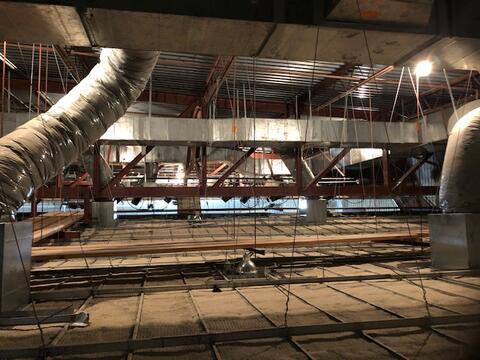 Temporary lighting being installed, auditorium work to start next week.