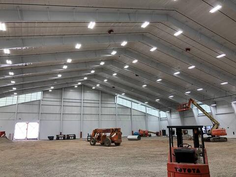 Athletic field ceiling work complete; net install starting week of February 8th.