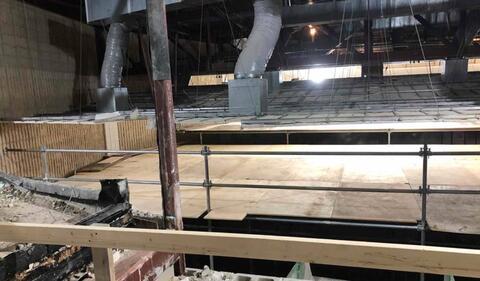 Scaffold (dance floor) installed in Auditorium for ceiling demolition.