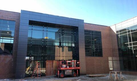 The frame and glass for the final curtainwall in the courtyard is installed.