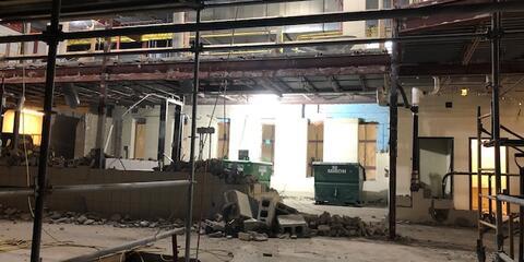 Unit M Lobby aluminum storefront installed.