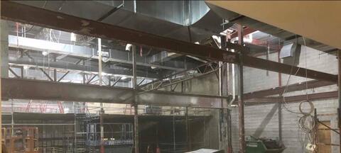 Auditorium - Joist and roof deck demolition.