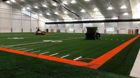 Athletic Field – Turf sand and rubber pellet installation.