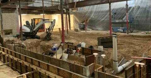 Auditorium – Helical pier and concrete foundation wall forming.