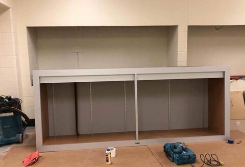 Area A – Installing Trophy case.