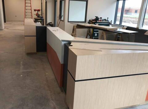 The reception desk in the main office is underway.