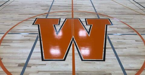 The West De Pere W is painted at center court in the gym.  The gym floor is now sealed and will take about two weeks to cure.