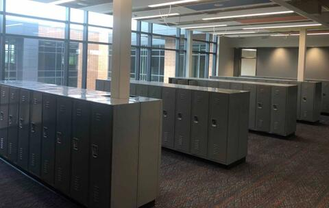 The lockers are in place on the first and second floors throughout the classroom area.