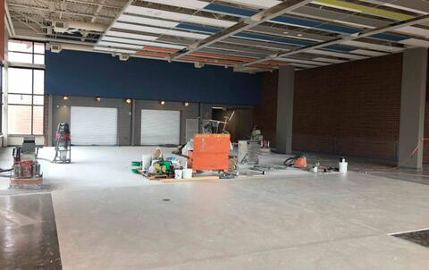 The terrazzo is underway in the cafeteria.