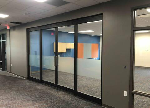 The frosted strip is installed on all the classroom sliding glass doors.