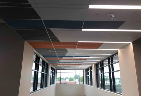 The ceiling above the main entrance corridor is complete.
