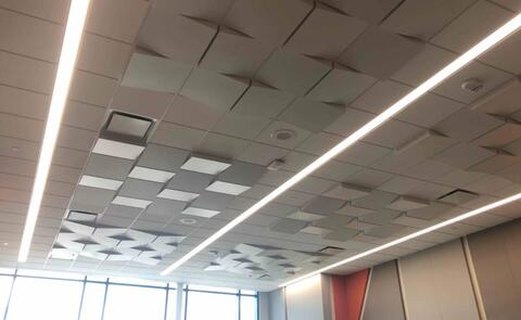 The acoustical ceilings are complete in the band and music rooms.