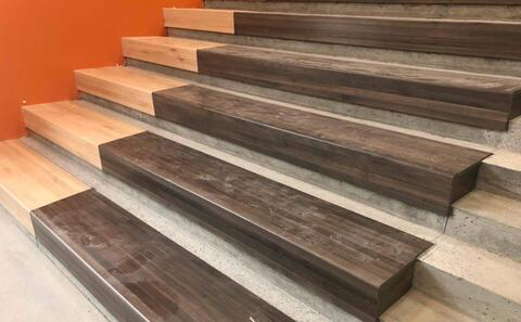 Slowly but surely, the wood for the learning stairs is being installed.
