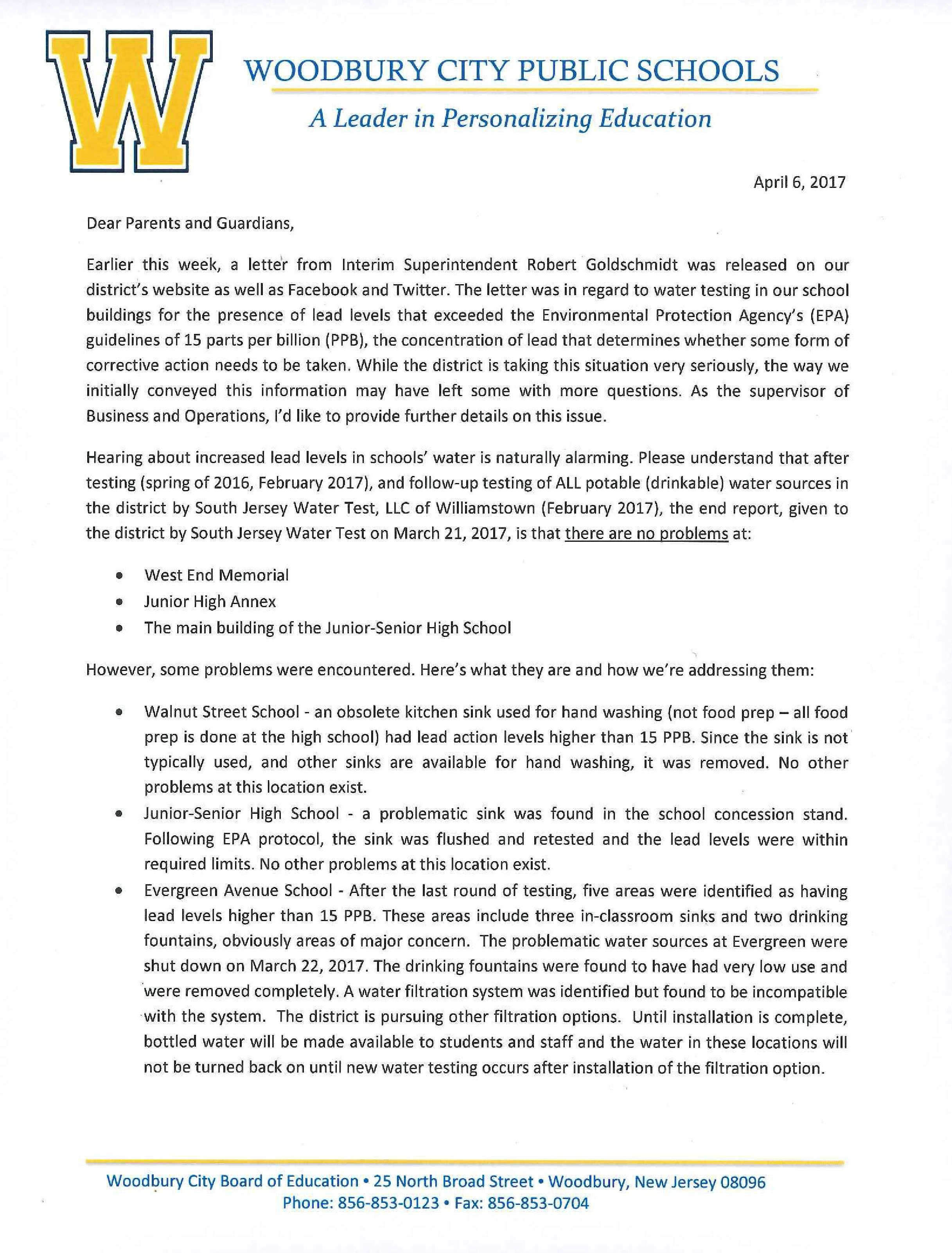 Kara Huber Letter Re: Lead in Water - page-0