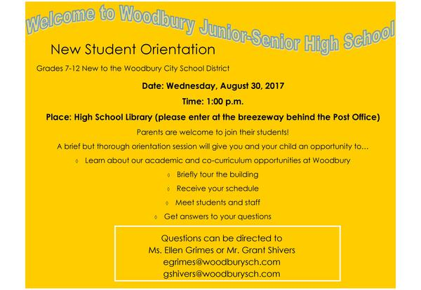 Junior-Senior High School New Student Orientation for Grades 7-12