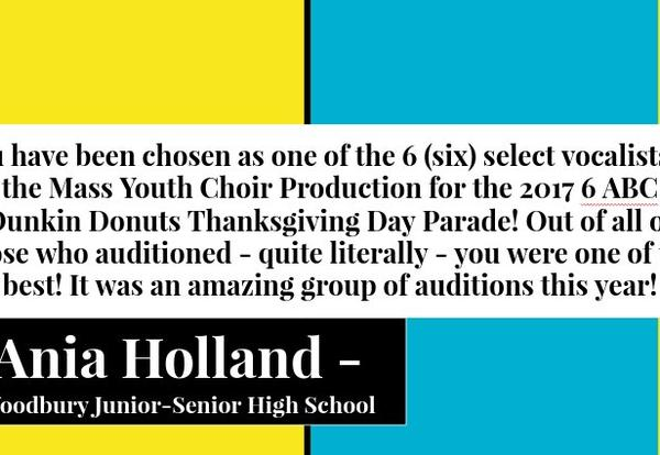 Senior to Sing on Live TV During Thanksgiving Day Parade