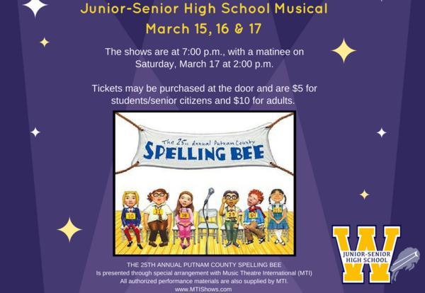 "The Junior-Senior High School Drama Club Presents ""The 25th Annual Putnam County Spelling Bee"" March 15-17"