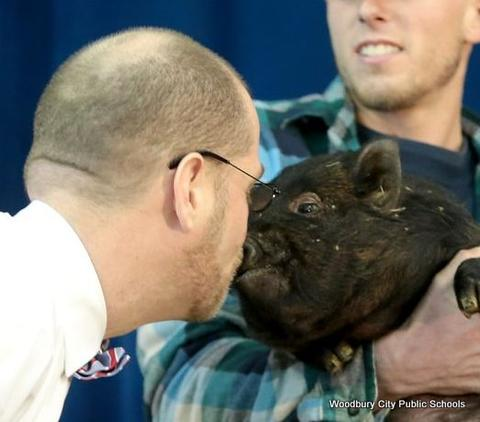West End Memorial Principal Myers Kisses a Pig-01