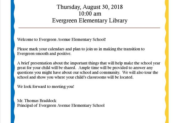 New Student/Parent Orientation at Evergreen