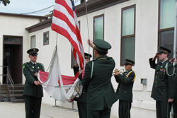 Cadets holding a flag