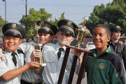Cadets holding trophies