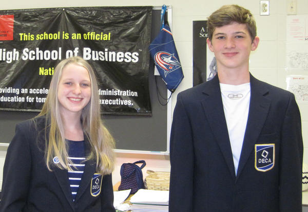 High School of Business winners smiling