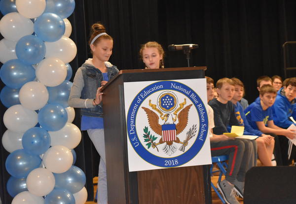 Students present at the Blue Ribbon Celebration