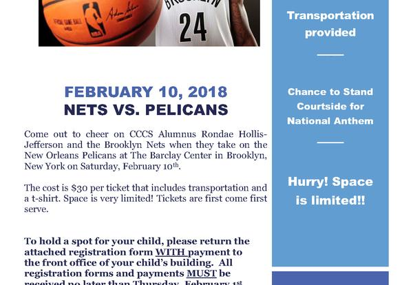 Come See CCCS Alumnus Rondae Hollis-Jefferson and the Brooklyn Nets!
