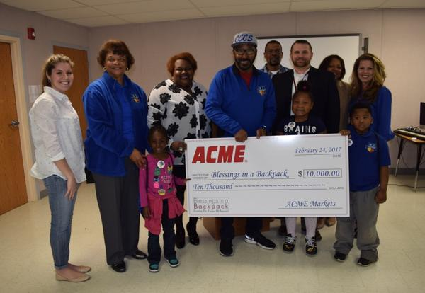 ACME Markets Donates $10,000 to CCCS Through Blessings in a Backpack