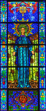 stained glass mama mary design picture