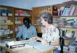 Sister Carolyn and a Man in her office