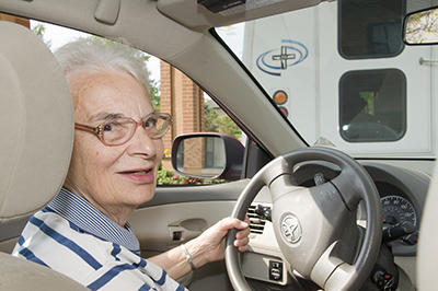Sister Rose Zuber on her car picture