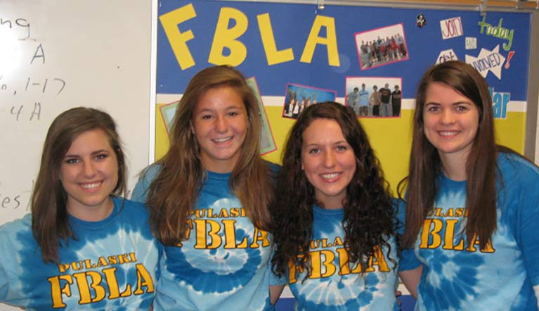 Four Students Wearing Pulaski FBLA Shirt