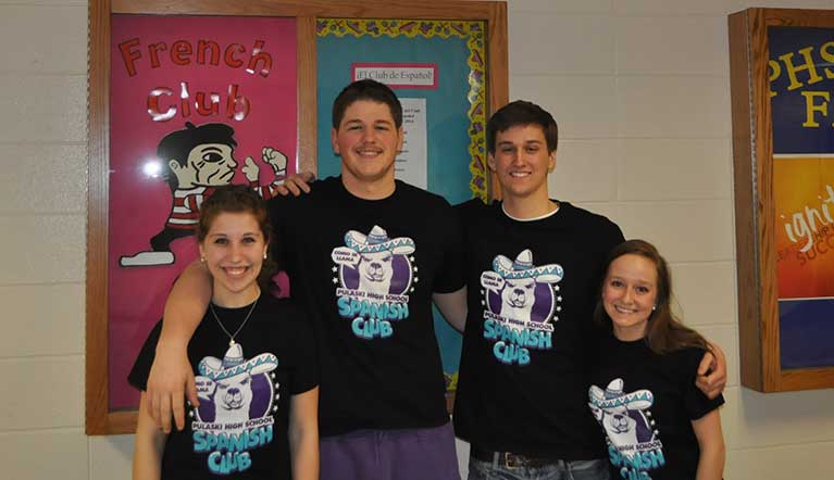 Students wearing Spanish Club Shirt