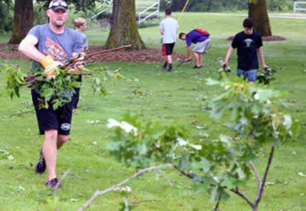PHS athletes, students help with storm cleanup; location of Music in the Park changed