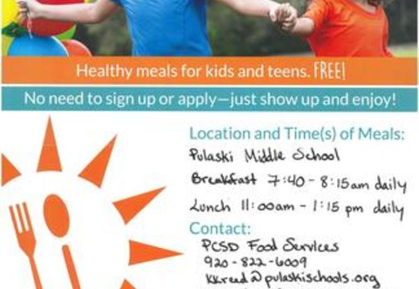 Healthy meals for kids and teens.  Free Summer Program