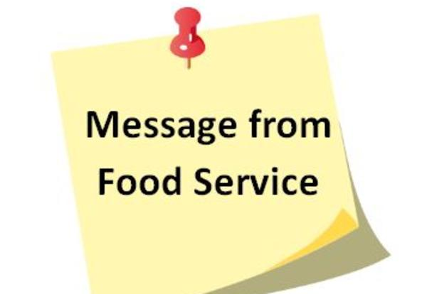 Message from Food Service Department