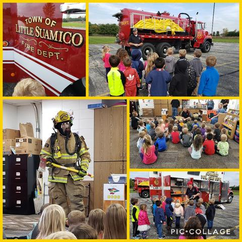 picture collage of firefighter visit showing children, firefighter, and fire truck