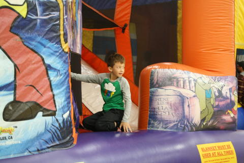 boy on bouncy house