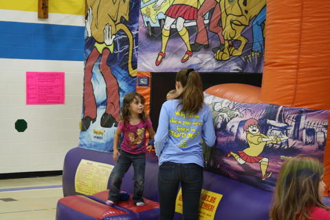 girls on bouncy house