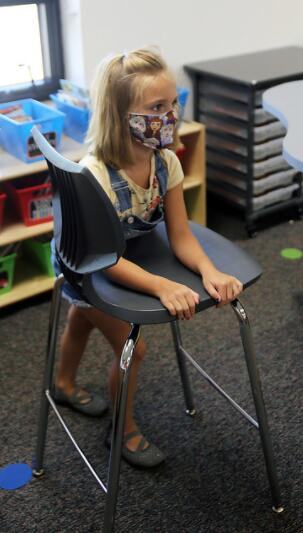 girl leaning on her chair