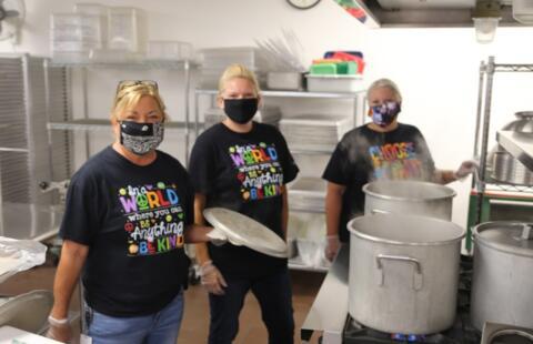 lunchroom staff in the kitchen