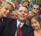 Principal selfie with students